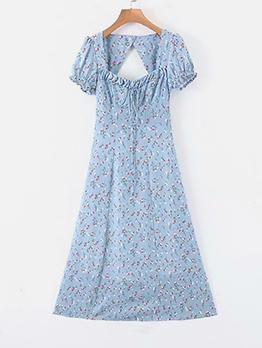 Backless Square Neck Blue Floral Midi Dress