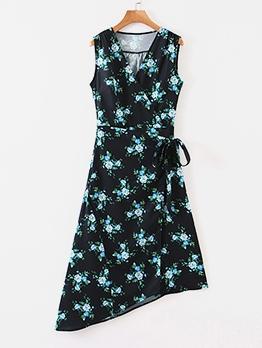 Casual V Neck Sleeveless Floral Wrap Dress
