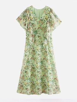 Ruffle Sleeve Green Print Chiffon Midi Dress