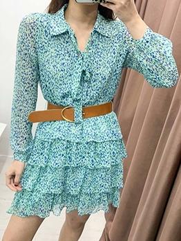 Flounced Hem Long Sleeve Green Dress
