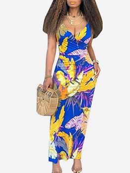 Leaves Print Deep V Neck Sleeveless Maxi Dress