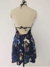 Sexy Open Back Printed Halter Neck Summer Dress
