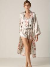 Casual Flower Printed Tie-Wrap Sleepwear Set For Women
