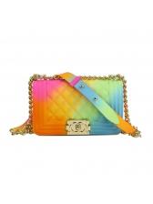 Mini Size Iridescent Color Hasp Plaid Beautiful Shoulder Bag