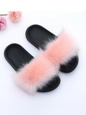 Fashion Fox Fur Fluffy Slides Womens Slippers