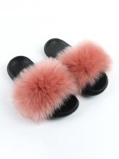Korean Faux Fur Fluffy Slides Summer Slippers