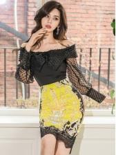 Boat Neck Bowknot Black Blouse With Lace Hem Pencil Skirt