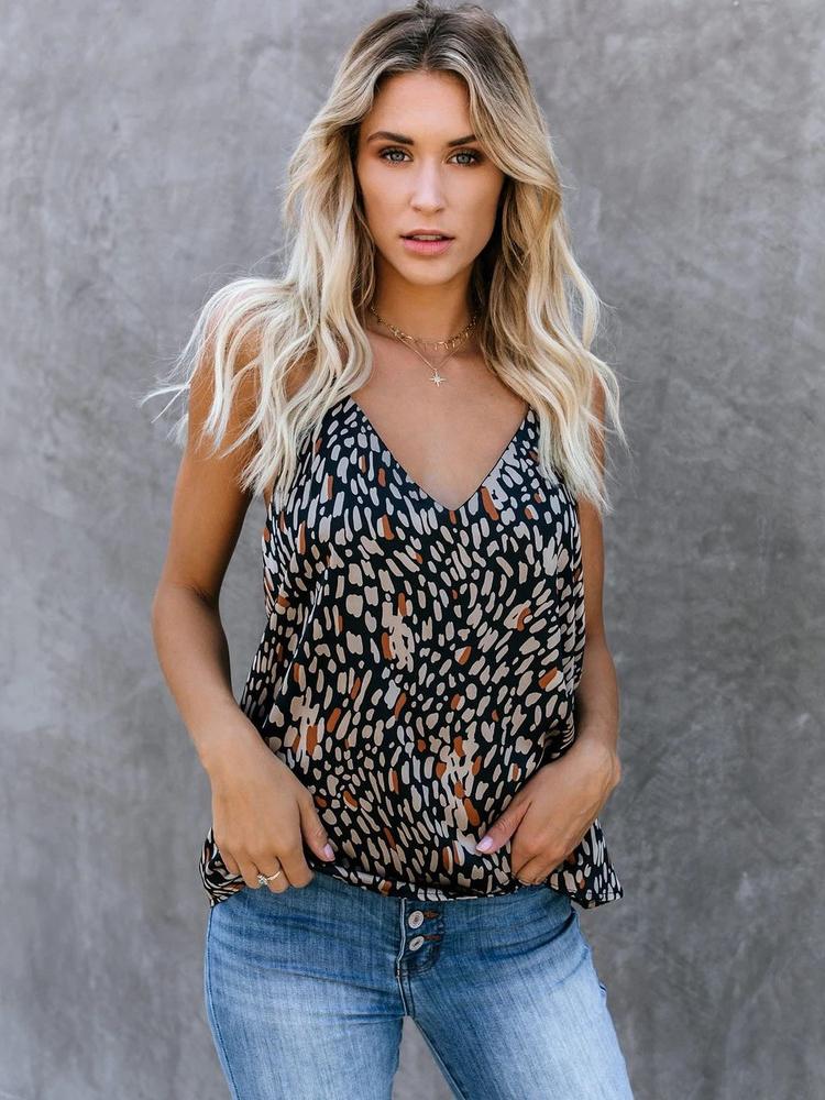 Sexy Leopard Printed V Neck Cami Top