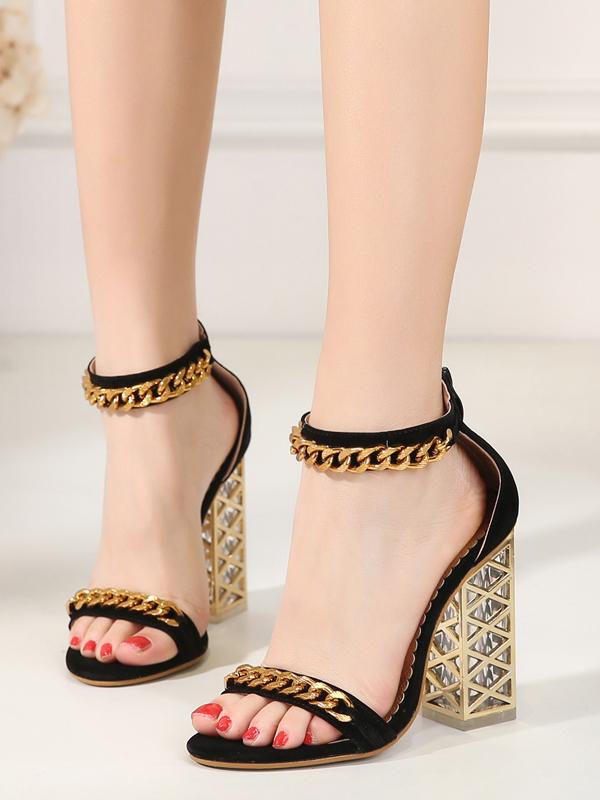 Hollow Heel Chain Decor Fashion Sandals