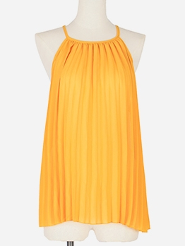 Easy Matching Yellow Pleated Tank Tops For Women