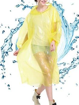 Solid Color Pullover Transparent EVA Womens Raincoat