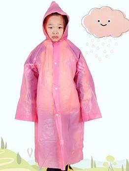 Waterproof Button Up PEVA Long Raincoat For Kids