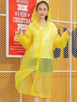 Solid Drawstring Hooded Womens Transparent Raincoat