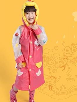 Contrast Color PVC Printed Cute Raincoats For Kids
