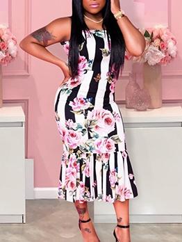 Pleated Hem Floral Sleeveless Bodycon Dress