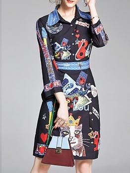 Loose Button Down Vintage Printed Shirt Dress
