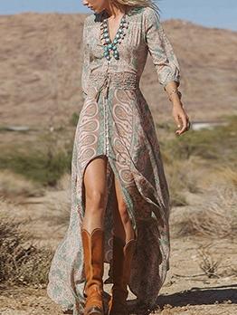 Casual v Neck Printed Slit Chiffon Maxi Dress
