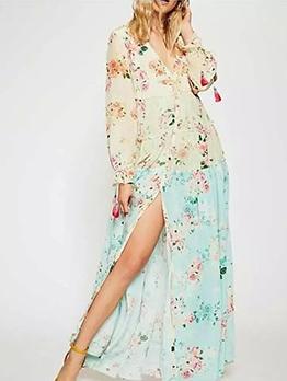 Bohemian Patchwork Split Floral Maxi Dress
