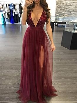 Deep v Backless Sequins Sexy Evening Dresses
