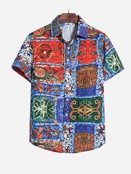 Vintage Printed Plus Size Short Sleeve Shirt