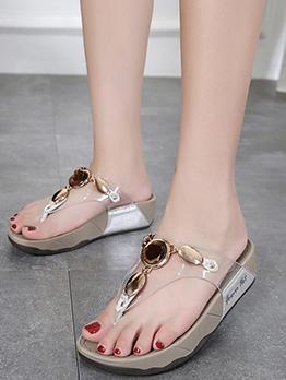 Gemstone Decor Flip Flop Summer Slippers