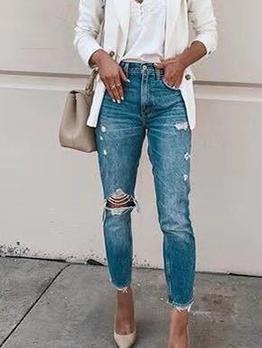 Trendy Skinny Mid Waist Distressed Jeans