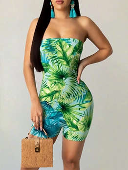 Printed Strapless Romper With Long Coat