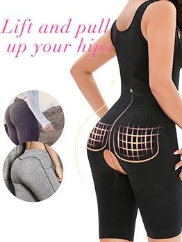 Solid Breathable Underbust Shapewear Bodysuit