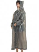 Pure Color Lightweight Transparent Womens Raincoat