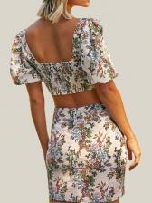 Puff Sleeve Front Zipper Floral Crop Top And Skirt Set