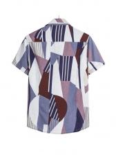 Stylish Color Block Geometric Printed Short Sleeve Shirt