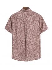 Vintage Printed Short Sleeve Button Down Shirt