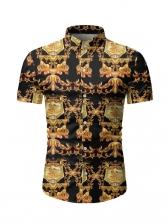 Retro Printed Short Sleeve Casual Shirts For Men