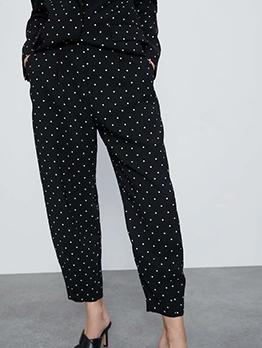 Casual Dot Printed Black Pants
