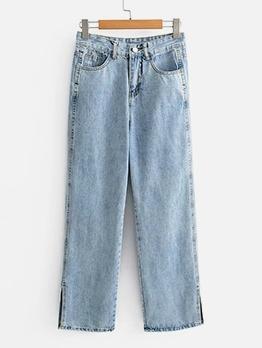 Fashion Solid Split Hem High Waisted Jeans