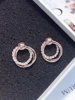 Exquisite Rhinestone Decor Round Earrings