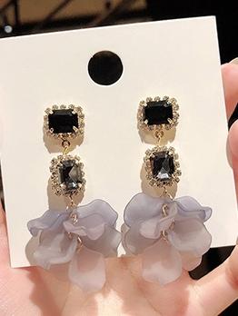 Sweet Zircon Rose Petal Dangle Earrings
