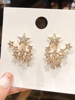 Rhinestone Decor Multi-Star Statement Earrings