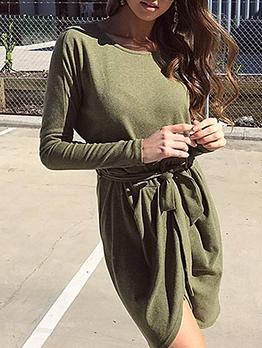 Irregular Hem Tie-Wrap Army Green Long Sleeve Dress
