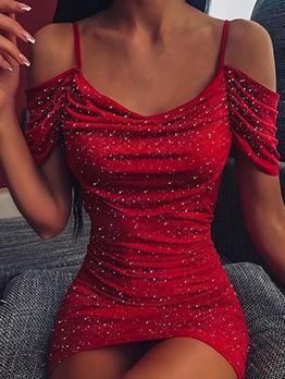 Fashion Print Draped Off Shoulder Mini Dress