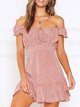 Off The Shoulder Print Summer Dress For Women
