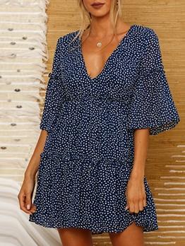 Flare Sleeve Print Short Dress For Women