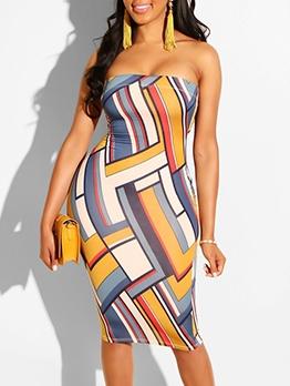 Color Block Graphic Printed Shoulderless Dress