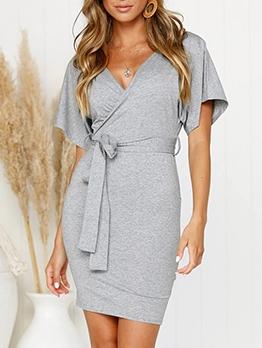 Backless V Neck Pure Color Tie-Wrap Ladies Dress