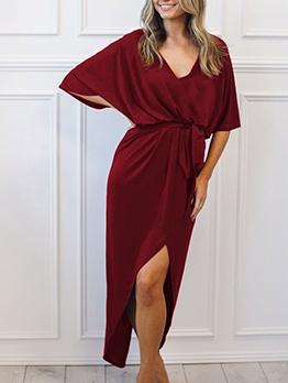 Split Hem Bat Sleeve Tie-Wrap Maxi Dress