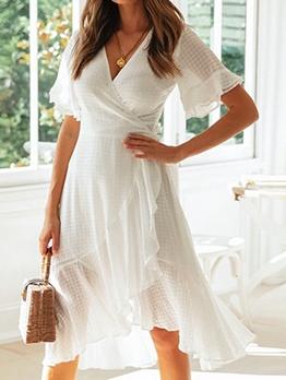 Elegant v Neck Ruffled White Midi Dress