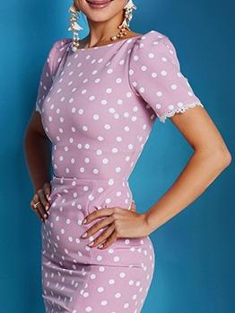 Crew Neck Polka Dots Short Sleeve Bodycon Dress