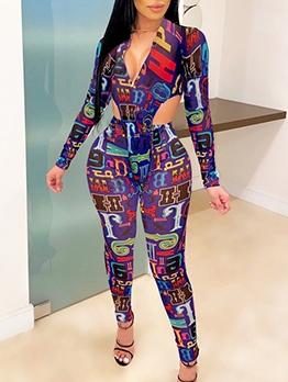 Gauze Printed Long Sleeve Bodysuit Two Piece Pants Set