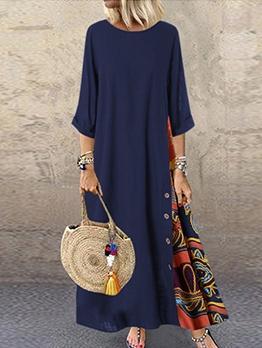 Print Large Hem Short Sleeve Maxi Dress Casual
