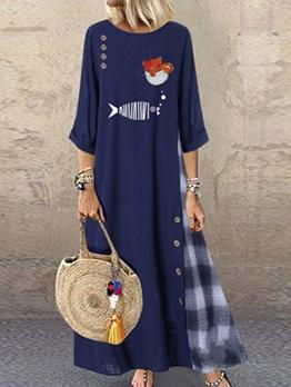 Print Loose Large Hem Plus Size Maxi Dress
